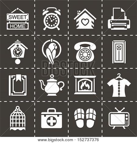 Vector Homey icon set on black background