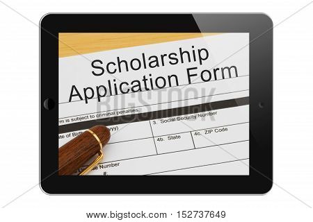 Applying for a Scholarship on the Internet Scholarship Application Form with Pen on a tablet display 3D Illustration
