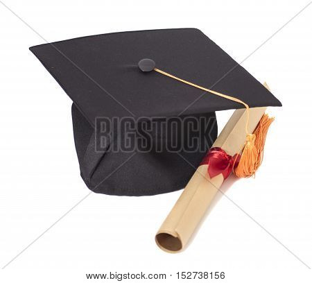 Graduation Hat and Diploma Isolated on White Background