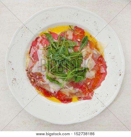 Delicious carpaccio on a plate stock picture