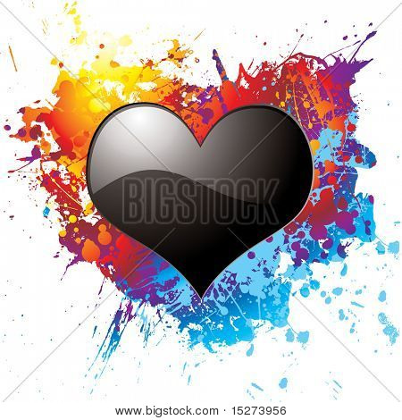 Black heart on a colorful ink splat illustrated background