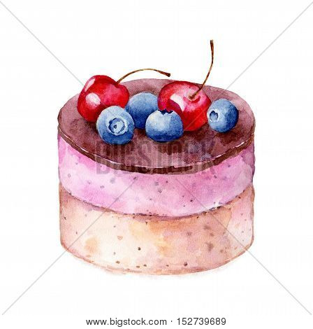 Cheesecake on white background hand drawn watercolor illustration.