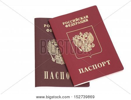 Russian Foriegn Passports isolated on a white
