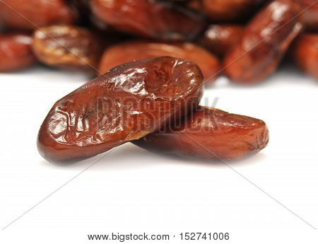 Dried dates isolated on white background. Flat.