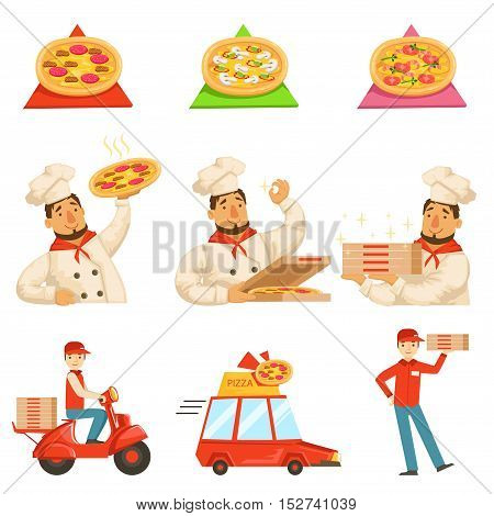 Pizza Delievery Fast Service Process Info Illustration. . Set Of Vector Illustrations In Simple Style Demonstrating Steps Of Food Home Delivery Service.