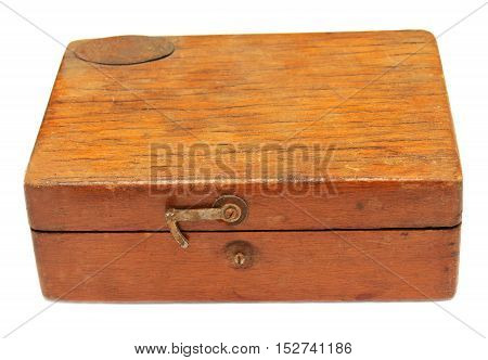 Old wooden chest isolated on white background