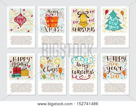 Vector big set of New Year and Christmas greetings cards and invitations isolated on background. Unique handwritten quotes lettering and elements . Xmas quotes collection. Holiday calligraphy.