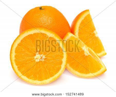 Sweet orange fruit on white background. Flat, fruit.