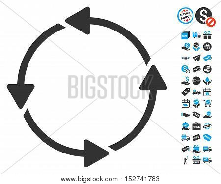 Rotation CCW icon with free bonus clip art. Vector illustration style is flat iconic symbols, blue and gray colors, white background.