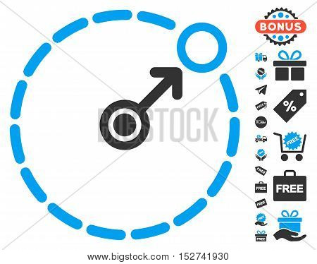 Round Area Border pictograph with free bonus graphic icons. Vector illustration style is flat iconic symbols, blue and gray colors, white background.