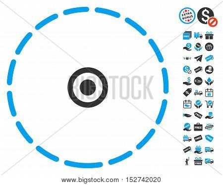 Round Area pictograph with free bonus pictures. Vector illustration style is flat iconic symbols, blue and gray colors, white background.