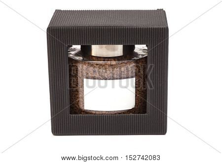 Instant coffee jar in box isolated on white