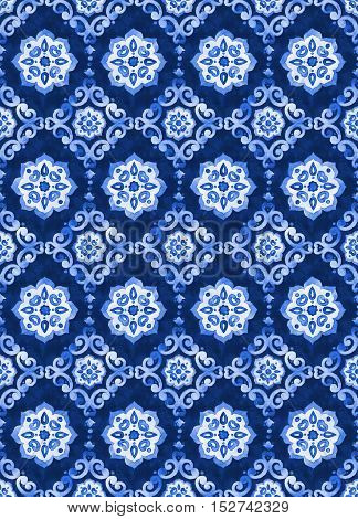 Watercolor royal blue velour seamless pattern renaissance tiling ornament. Delicate filigree openwork lace pattern. Blue velvet revival tracery design. Denim texture background