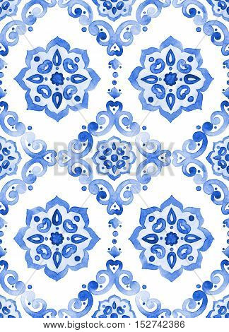 Watercolor royal blue filigree seamless pattern indigo renaissance tiling ornament. Delicate sapphirine openwork lace pattern. Cobalt blue revival tracery design. Moroccan navy blue background