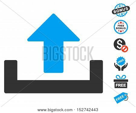 Upload icon with free bonus pictures. Vector illustration style is flat iconic symbols, blue and gray colors, white background.