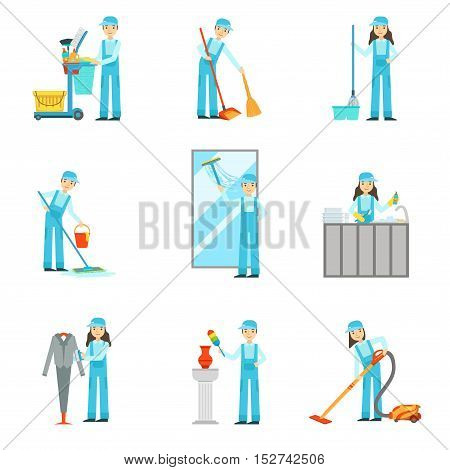 Workers Providing Cleaning Service In Blue Uniform Set Of Illustrations. Simplified Bright Color Drawings With People Doing Different Household Clean Ups In Blue Dungarees.