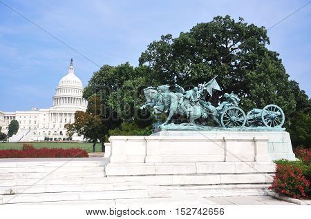 Ulysses S. Grant Civil War Memorial in front of US Capitol in Washington DC, USA.