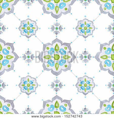 Watercolor filigree seamless pattern renaissance tracery design. Delicate pastel openwork lace pattern. Soft gray blue and green mediteranean tiling ornament