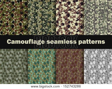 Camouflage seamless patterns. Urban pattern camouflage. Masking vector illustration.