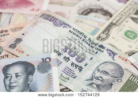 International currencies banknotes different countries  close up