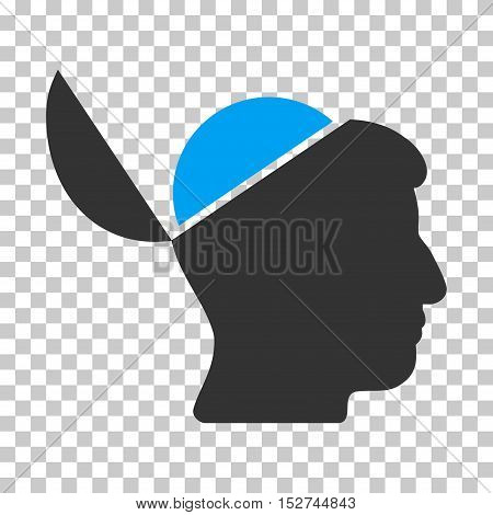 Blue And Gray Open Brain interface toolbar icon. Vector pictogram style is a flat bicolor symbol on chess transparent background.