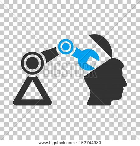 Blue And Gray Open Head Surgery Manipulator toolbar pictogram. Vector pictogram style is a flat bicolor symbol on chess transparent background.