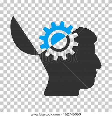 Blue And Gray Open Mind Gear interface toolbar icon. Vector pictogram style is a flat bicolor symbol on chess transparent background.