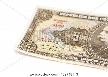 5 Brasilian cruzeiro banknote isolated on white