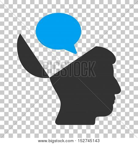 Blue And Gray Open Mind Opinion interface toolbar pictogram. Vector pictogram style is a flat bicolor symbol on chess transparent background.
