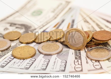 Euro Coins Over Dollars US Banknotes Money