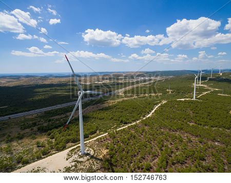 Aerial view of wind-turbines on the Croatian coast