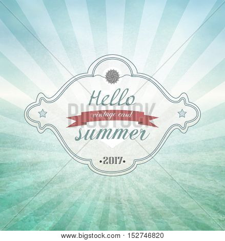 Hello Summer Grunge Vintage Background With Sky And Ocean