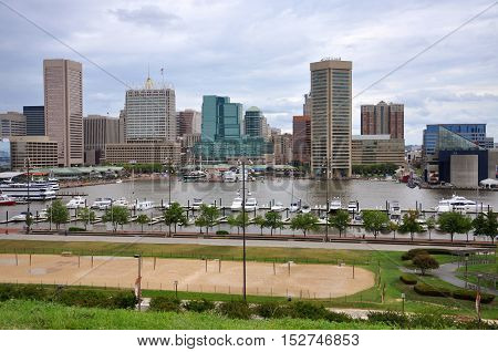 Baltimore Inner Harbor skyline, Baltimore, Maryland, USA.