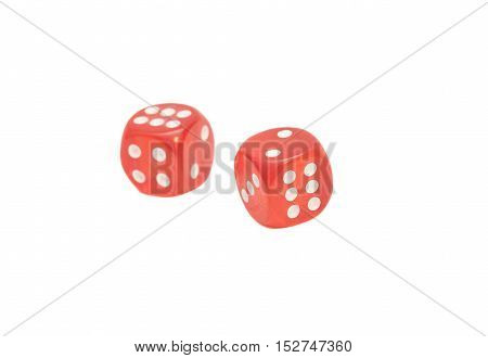 two red transparent dice isolated on white