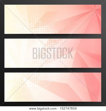 Set Of Abstract Crystal Geometric Banners On A Gray Background With Shadows