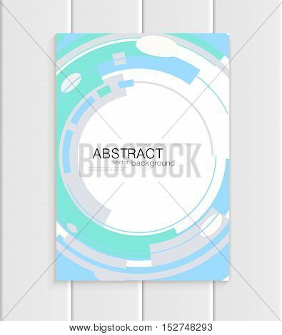Stock vector brochure in abstract style. Design business templates with turquoise rounds, blue rectangular shapes on white background for printed materials, elements, web sites, card, cover, wallpaper