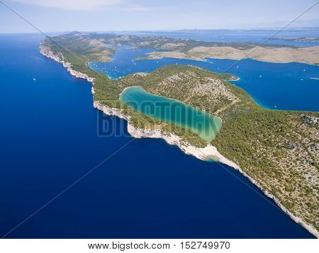 aerial view of the Slano lake in nature park Telascica, Croatia, Dugi otok.