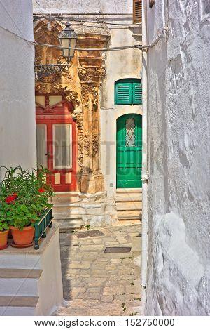 Image of an alleyway of Ostuni. Puglia. Italy.