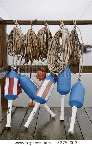 Lobster buoys and ropes at the dock