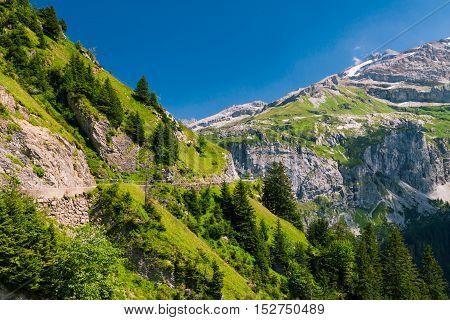 Klausen pass mountain road in Swiss Alps, Canton Uri, Central Switzerland