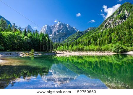 Valley with the lake in the Triglav National Park, Julian Alps, Slovenia