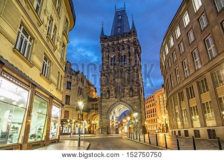 The Powder Tower - medieval gothic city gate in Prague Czech Republic