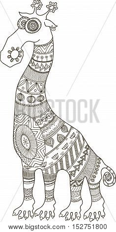 Crazy zoo. African styled tattooed cartoon giraffe contour vector illustration for coloring book.
