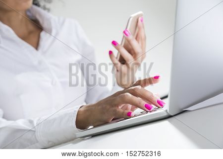 Pretty African Girl's Hand With Smartphone