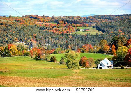 Scenic autumn landscape in Rural Vermont