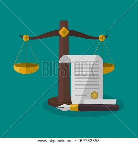 Balance and document icon. Law justice legal and judgment theme. Colorful design. Vector illustration