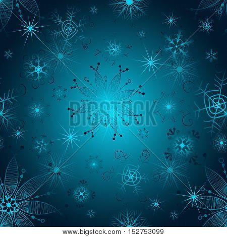 Seamless gradient blue christmas pattern with vintage snowflakes vector eps 10