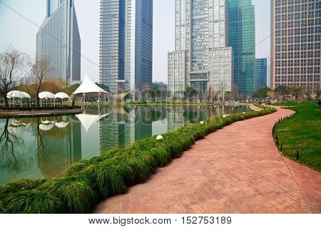 Shanghai Lujiazui At City Park Buildings Backgrounds Streetscape