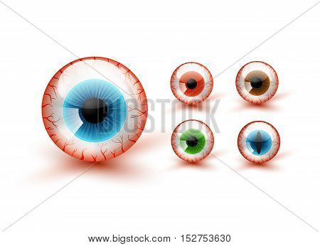 Scary Bloody Realistic Eyeballs. Vector Halloween Set