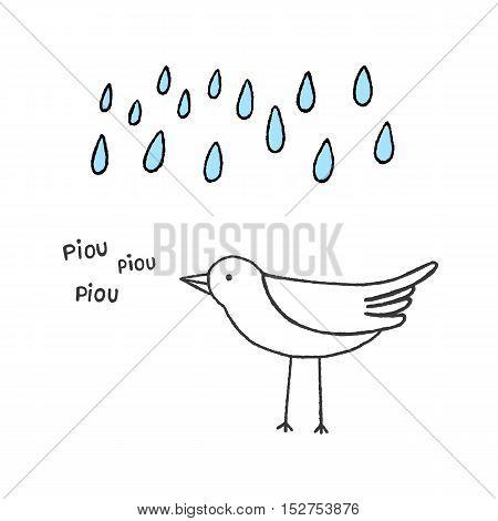 Bird singing in the rain hand drawn vector illustration